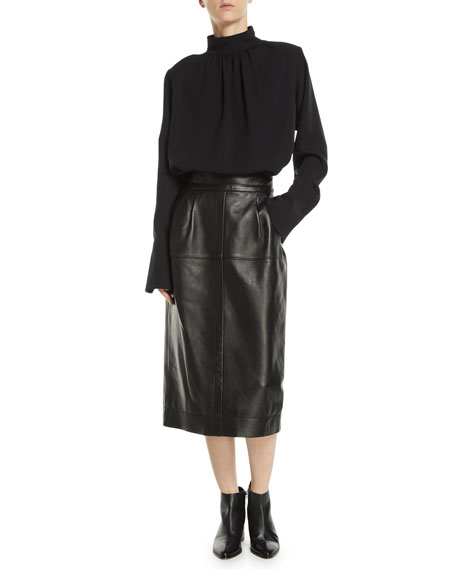 High-Waist A-Line Midi Lamb Leather Skirt