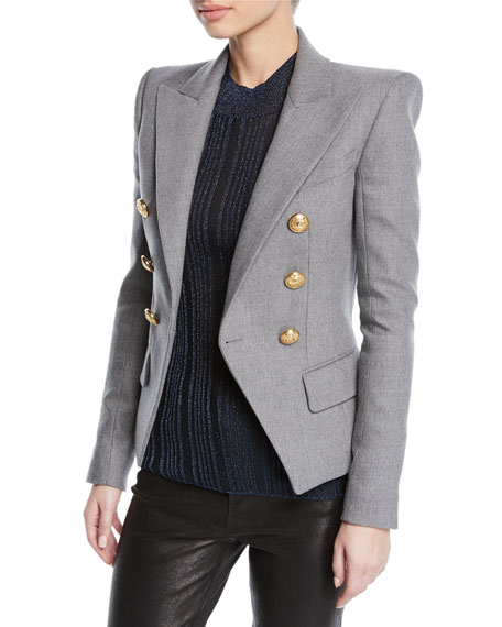 Balmain Blazers Double-Breasted Wool-Cashmere Flannel Blazer
