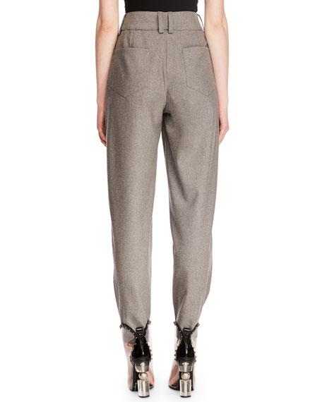 High-Waist Zip-Front Tapered-Leg Wool Suit Pants