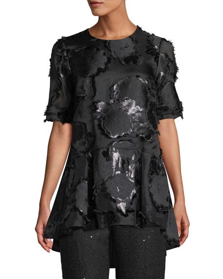 Lela Rose Short-Sleeve Floral-Embroidered Flounce Top