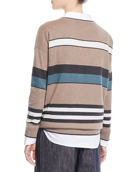 V-Neck 2-Ply Rugby-Stripe Cashmere Sweater w/ Paillettes