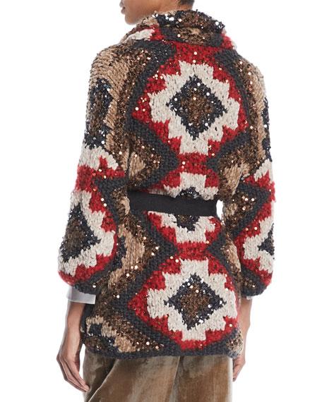 Shawl-Collar Paillette Cashmere-Blend Cable-Knit Cardigan