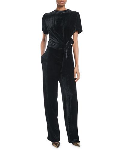 Crewneck Short-Sleeve Liquid-Velvet Straight-Leg Jumpsuit