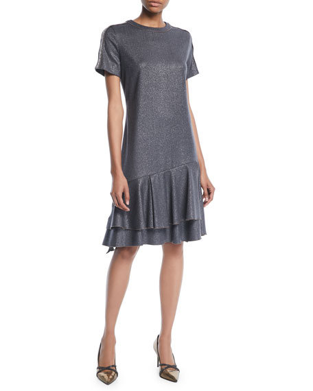 Crewneck Short-Sleeve Metallic-Wool A-Line Dress w/ Flounce Hem