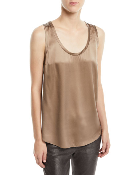 Brunello Cucinelli Silk-Stretch Satin Scoop-Neck Tank Top