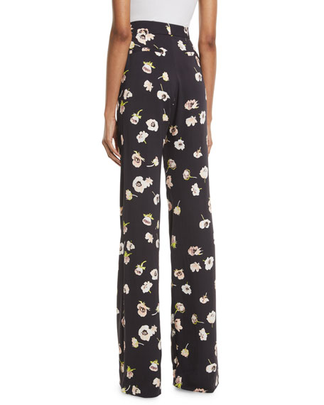 Maggie High-Waist Wide-Leg Floral-Print Pants