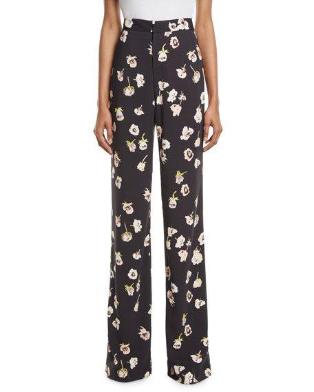 Lela Rose Maggie High-Waist Wide-Leg Floral-Print Pants
