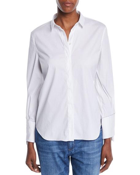 Button-Front Long-Sleeve Cotton Shirt w/ Monili Cuffs