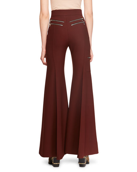 Zip-Detail Stretch-Wool Flared Pants