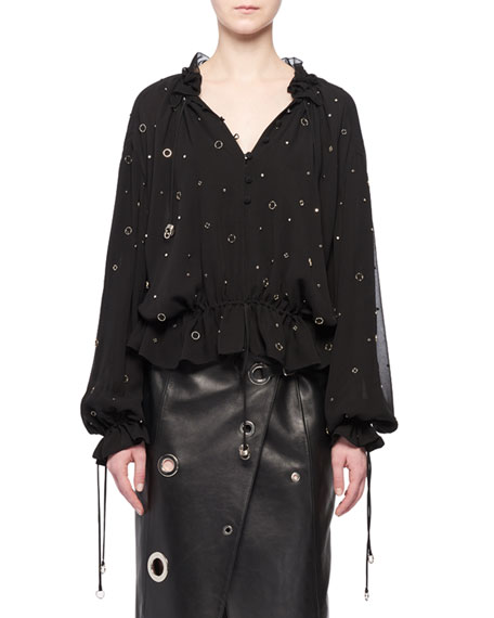 Altuzarra V-Neck Long-Sleeve Grommet Silk Blouse