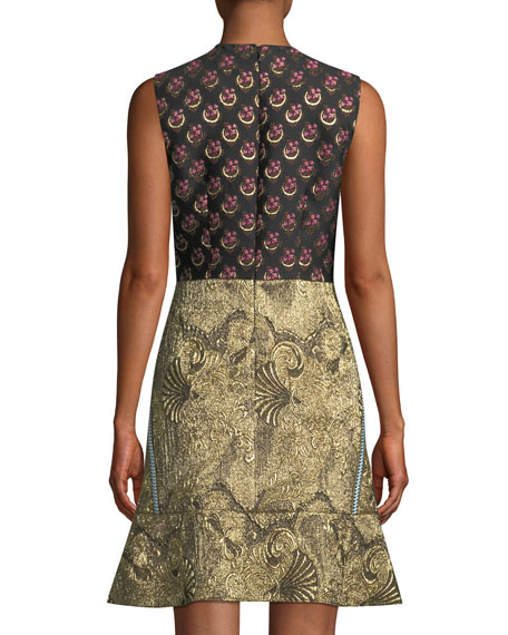 Sleeveless Metallic Mixed-Brocade Flared-Hem Dress
