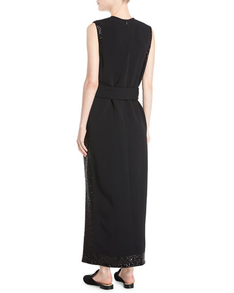 Sleeveless Long Paneled Sequin A-Line Crepe Dress w/ Self-Belt