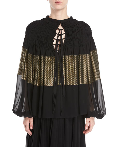 Image 1 of 2: Tie-Front Smocking Blouson-Sleeve Silky Blouse w/ Metallic