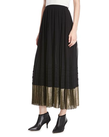 Derek Lam A-Line Pleated Plisse Long Skirt w/ Metallic Hem