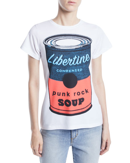 LIBERTINE Punk Rock Soup Photo-Print Jersey Tee in White