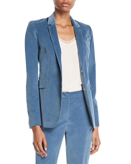 Gabriela Hearst Sophie Single-Breasted Stretch-Corduroy Blazer Jacket