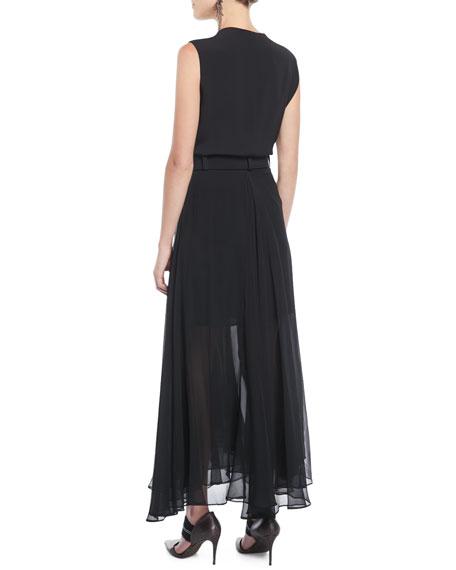 Sleeveless Belted Silk Wrap Cocktail Dress w/ Chiffon Bottom