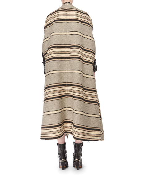 Isabel Marant Wild West One-Button Long Striped Wool Blanket Coat