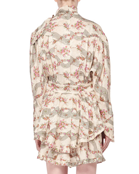 Isabel Marant Josephine Antique Floral-Print Tie-Neck Long-Sleeve Dress