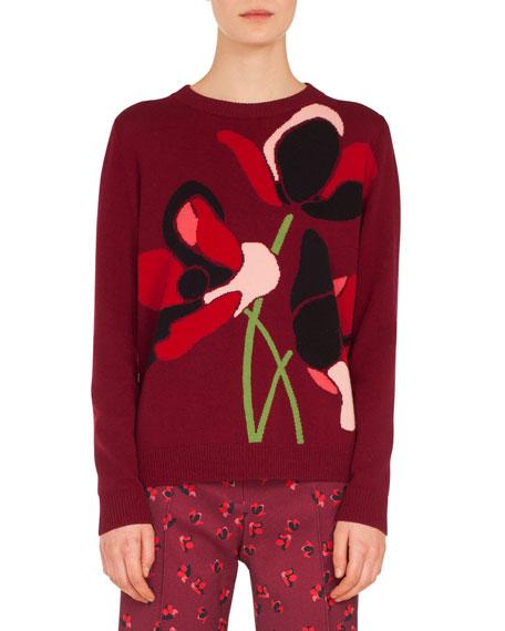 Crewneck Anemone Jacquard Wool-Cashmere Knit Sweater