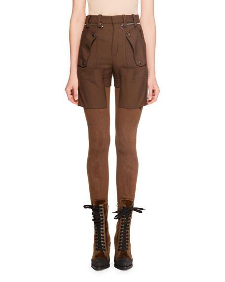 Wool Gabardine w/ Bi-Fabric Knit Legging Pants
