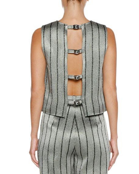 Emporio Armani Jewel-Neck Strappy-Back Striped Satin Shell Top