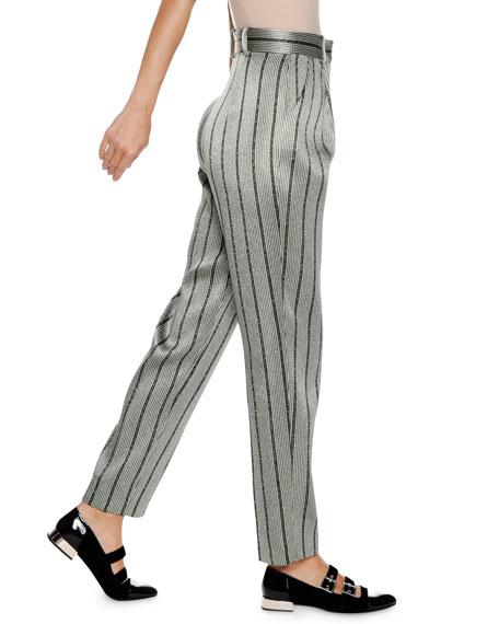 Emporio Armani High-Waist Straight-Leg Striped Satin Trousers