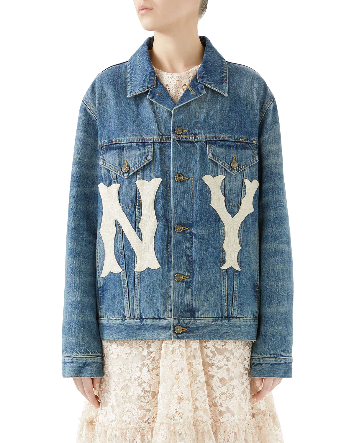 b7f574ef6 Gucci Stone-Washed Denim Jacket with NY Yankees Patch and Matching ...