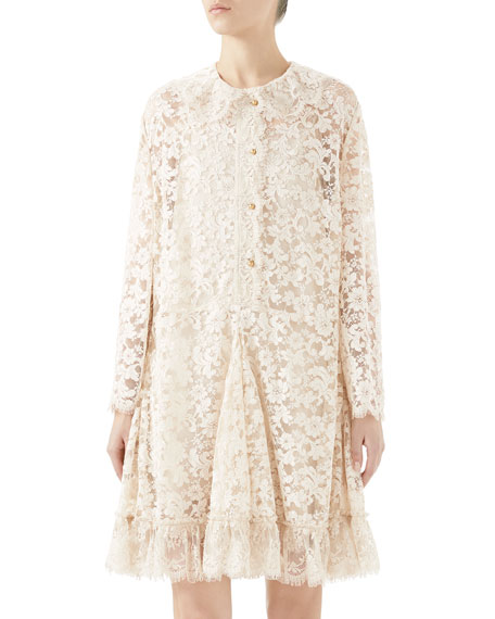 Gucci Long-Sleeve Lace Button-Front Godet Dress