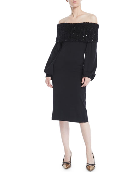 Off-the-Shoulder Blouson-Sleeve Wool Jersey Sheath Cocktail Dress