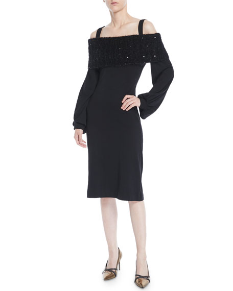 Off-The-Shoulder Blouson-Sleeve Wool Jersey Sheath Cocktail Dress in Black