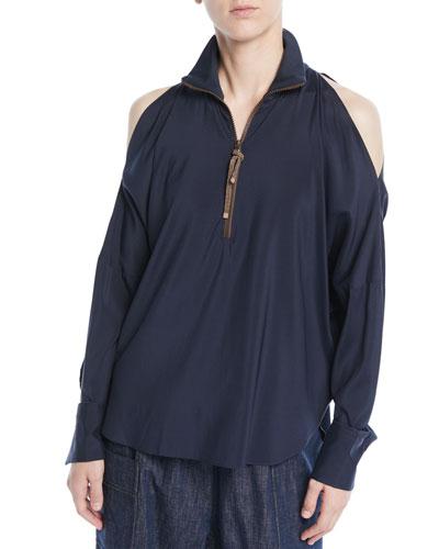 Long-Sleeve Open-Shoulder Silk Blouse