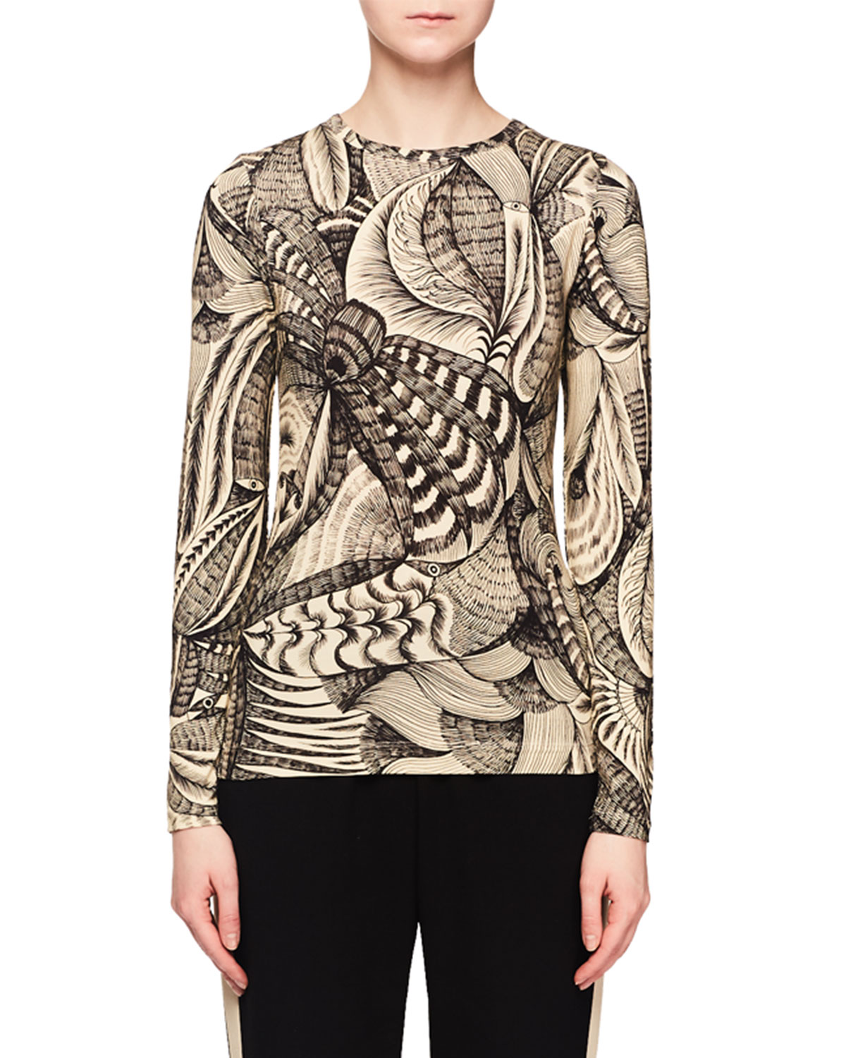 ad32427a0d Dries Van Noten Jewel-Neck Long-Sleeve Tattoo-Print T-Shirt