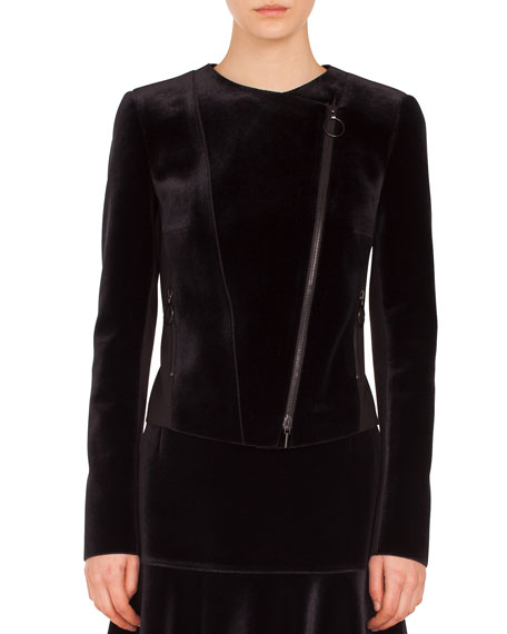 Asymmetric Zip-Front Velvet Front Jersey Back Moto Jacket