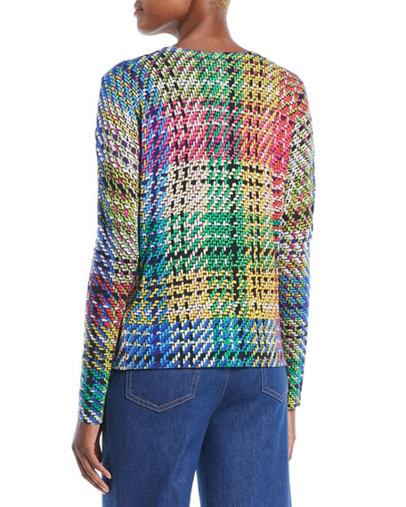 Button-Front Multicolor Blanket-Weave Cardigan