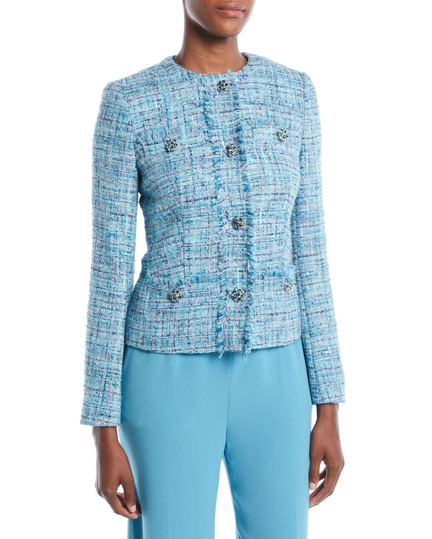 1edcfddf70ef Escada Jeweled-Buttons Fitted Tweed Jacket w/ Fringe Trim   Neiman ...