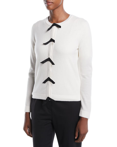 Snap-Front w/ Bows Wool-Cashmere Cardigan