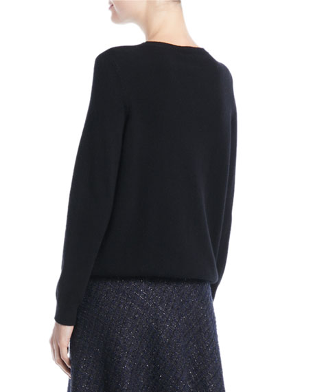 Crewneck Floral-Embroidered Wool-Cashmere Pullover Sweater