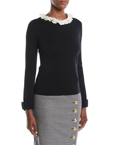 Long-Sleeve Wool-Silk Pullover Top w/ Removable Pleated-Collar