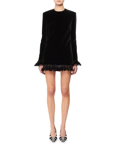 TOM FORD Jewel-Neck Long-Sleeve Velvet Mini Dress w/ Feather Trim