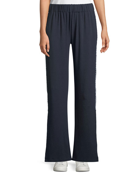 MADE ON GRAND Pull-On Side-Slit Flare-Leg Ankle Pants in Navy
