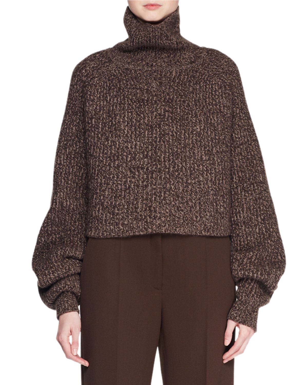 Dickie Turtleneck Long Sleeve Melange Cashmere Pullover Sweater by The Row