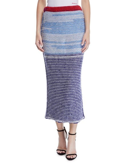 Television-Striped Tweed Wool Tubular Pull-On Skirt