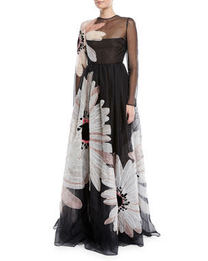 1564e0cd4 Valentino Long-Sleeve Floral-Embroidered Organza Evening Gown