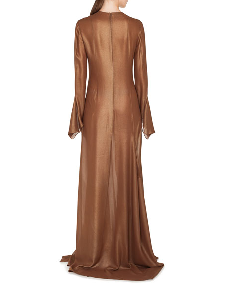 Image 3 of 4: Akris Plunging Long-Sleeve Side-Slit Draped Metallic-Silk Evening Gown