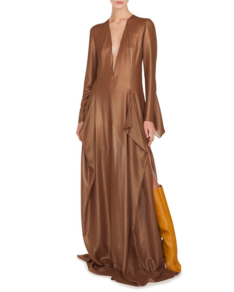 Image 1 of 4: Akris Plunging Long-Sleeve Side-Slit Draped Metallic-Silk Evening Gown