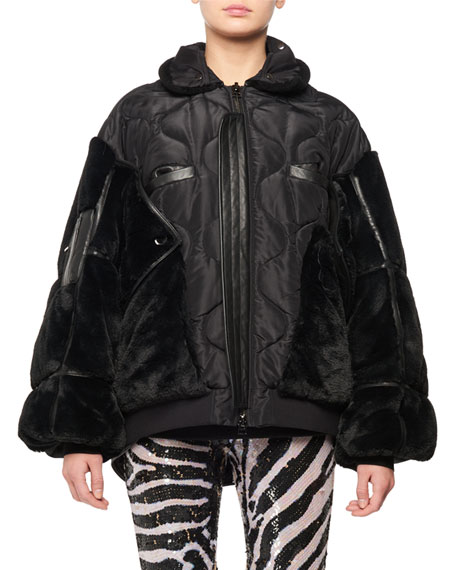 TOM FORD Zip-Front Patchwork Silk Taffeta Puffer Bomber Jacket w/ Faux-Fur