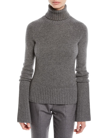 Michael Kors Collection Turtleneck Bell-Sleeve Cashmere Pullover Sweater
