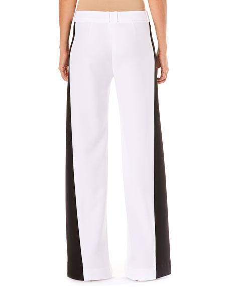 Low-Rise Wide-Leg Pants w/ Contrast Side Stripe
