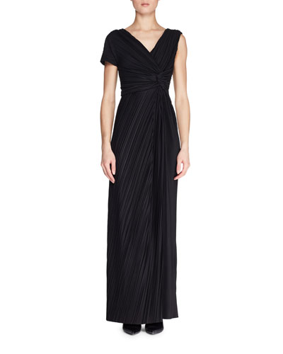 Allure One-Sleeve Pleated Long A-Line Dress